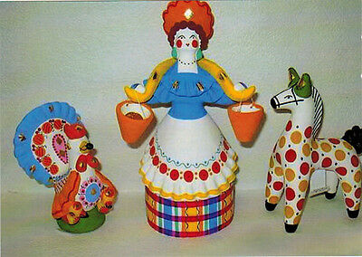 DYMKOVO TOYS: Rooster Horse Woman with buckets Modern Russian CARD