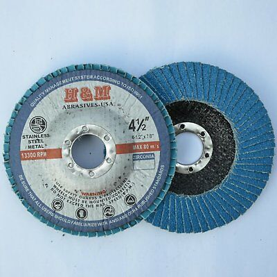 "100 4.5"" x 7/8"" Zirconia Flap Disc Grinding Wheels 60 Grit"