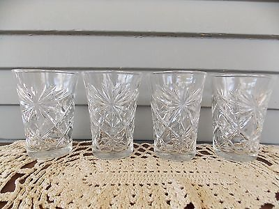 Set of 4 Vintage Early American Prescut Clear Glass Oatmeal Drinking Tumblers