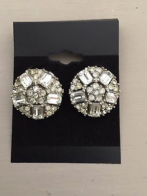 Vintage 50's 60's Silver Tone Paste Diamante Glass Stones Round Clip On Earrings