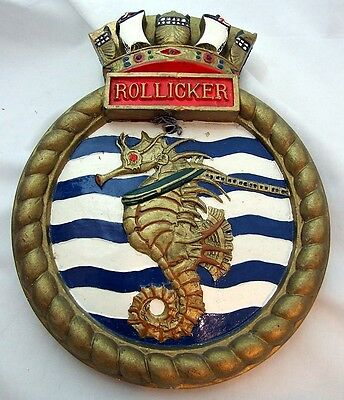 RARE Ships Plaque / Crest from RMAS Rollicker R Class TUG - 628g