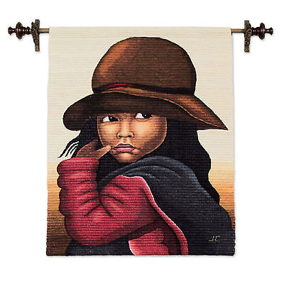 Wool Blend Tapestry Woven Wall Hanging Brown Handmade 'The Girl' NOVICA Peru