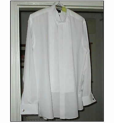 MENS DRESS / EVENING / TUXEDO SHIRT BY TAYLOR & WRIGHT 16in WING COLLAR, WHITE.