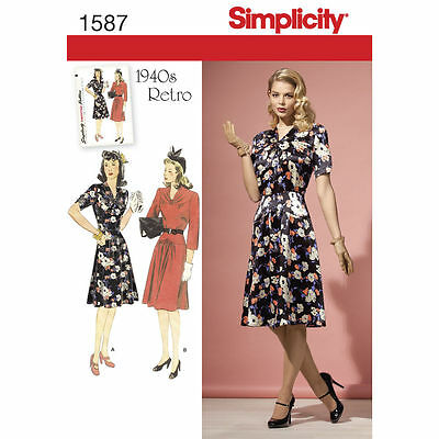 Simplicity SEWING PATTERN 1587 Misses & Petite Retro 1940s Dres 6-14 Or 14-22