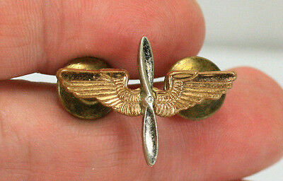 Wwii Gold And Silver United States Air Corps Winged Propeller Sweetheart Pin
