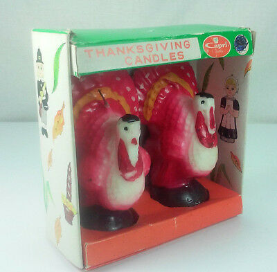 Pair Of Vintage Capri Thanksgiving Turkey Candles In Original Box