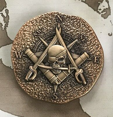 Pirate challenge coin with Masonic symbolism