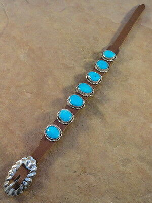 Beautiful Turquoise & Sterling Silver Leather Concho Bracelet