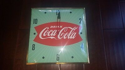 "Rare Original COCA-COLA Coke Electric Clock Green Fish Tail 15"" Pam Clock"