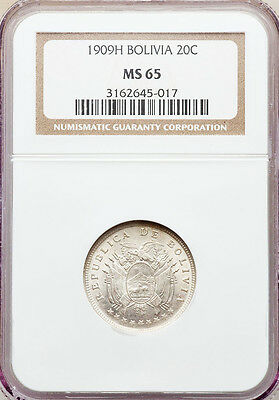 1909 H Silver Bolivia 20 Centavos Coin Heaton Mint NGC Mint State 65