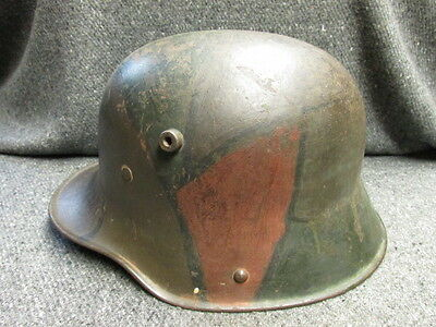 Wwi Imperial German M1916 Helmet-Nice Original Camouflage Paint-Named-Unit Mark