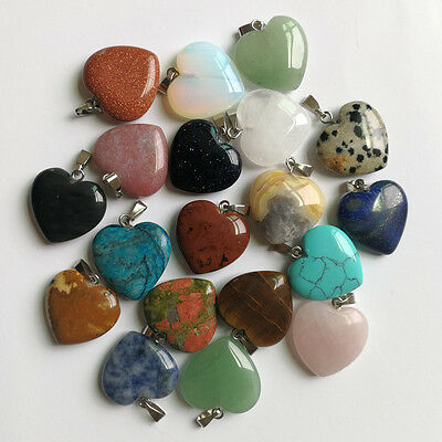 Wholesale lots 24pcs Tribal Lady's MIXED Real Natural Stone Heart Style Pendants