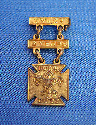 Rare vintage BSA SCOUTMASTER PIN MEDAL 100% DUTY 1 YEAR & 2 YEARS Bars XX PLATE