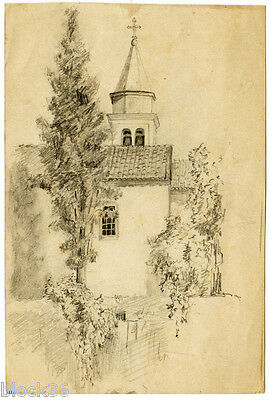 CYPRESS AT CHURCH Drawing by unknown Russian artist