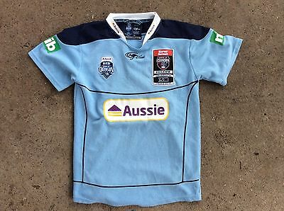 JERSEY STYLE TOP NSW STATE OF ORIGIN BLUES size 14 EMBROIDERED LOGO 30 YEARS