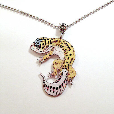 Leopard Gecko Necklace Pendant Handcrafted Plastic Made in USA