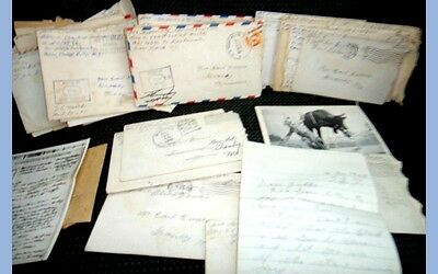 LOT vintage 1940 WWII LETTERS 100+pc GROVER FREDERICK v-mail GRANBY MO battleshp