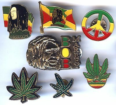 Lot de 7 Pin´s - BOB MARLEY REGGAE CANNABIS PEACE and LOVE FREEDOM RASTA
