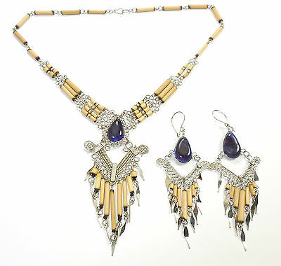 Peru Purple Glass Alpaca Silver Necklace Earrings Set Bamboo Ethnic Handmade
