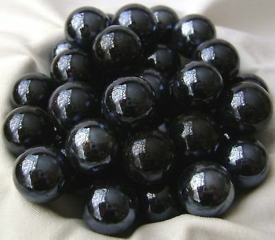 NEW 10 BLACK BEAUTY 14mm GLASS MARBLES TRADITIONAL GAME or COLLECTORS ITEMS HOM
