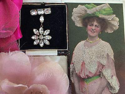 SUPERB Antique Edwardian Gold Foil Diamond Paste Flower Drop Brooch Pin Bridal