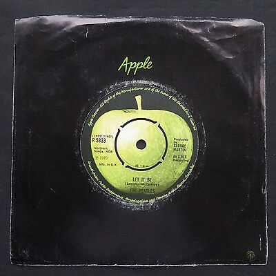 "THE BEATLES Let It Be APPLE Company Sleeve UK 1st Press 1U/1U 7"" 45 EX"