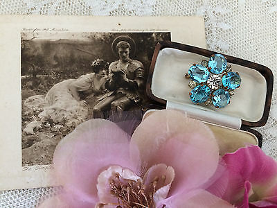 Antique Edwardian Art Deco Aquamarine Paste Flower Brooch Pin Bridal Gift Box