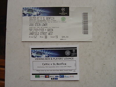 Celtic v Benfica 2012/13 Champions League Ticket & Players Lounge Pass
