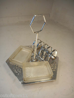 Silver Plate Breakfast Cruet , Toast , Butter Jam Dish on Stand  ref 1773