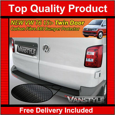 New Vw T6 15> Transporter Twin Door Carbon Abs Rear Bumper Protector Protection