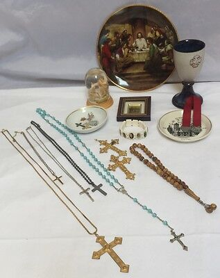 Vtg Job Lot Religious Catholic  Items Last Supper Plate Snow Ball Chalice Othes