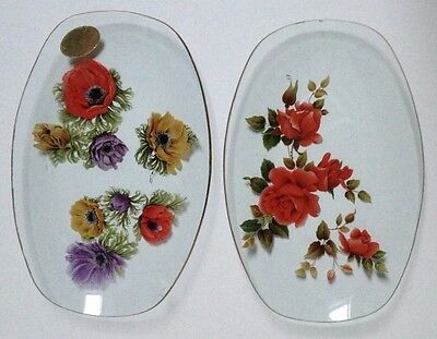 Vintage Chance Art Glass Oval Table 2 Dish Plates Gold Rim Floral Pin Coin Ring