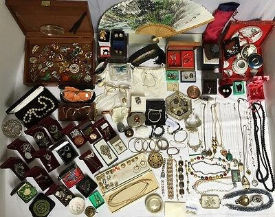 VTG MIXED JOBLOT FINE JEWELLERY SOLID SILVER+GOLD 9/14cat /925 MARKS JADE-AMBER