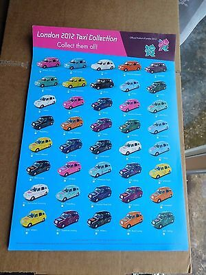 Olympics London 2012 LONDON DESTINATION TAXI COLLECTION Official A4 Leaflet NEW
