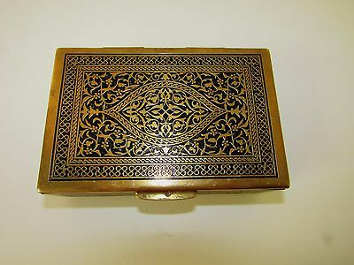 Ivolene Vtg Bronze Brass & Wood Enameled Music Box Working