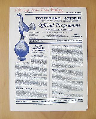 1950 FA Cup Semi-Final Replay ARSENAL v CHELSEA *Good Cond Football Programme*