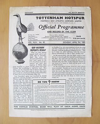 1952 FA Cup Semi-Final Replay ARSENAL v CHELSEA *Good Cond Football Programme*