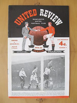 MANCHESTER UNITED v ARSENAL 1954/1955 *Excellent Condition Football Programme*