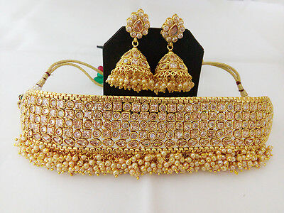 Indian Jewelry Antique choker chick Necklace Bollywood Ethnic Gold Traditional