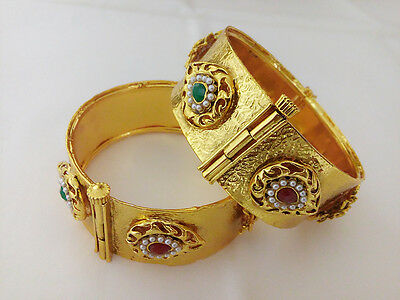 Indian Fashion Jewelry Antique Bangle Bollywood Ethnic Gold Plated Traditional