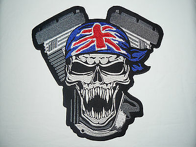 Skull Union Jack VTwin Large Iron-on/sew-on Embroidered Patch Motorcycle Biker