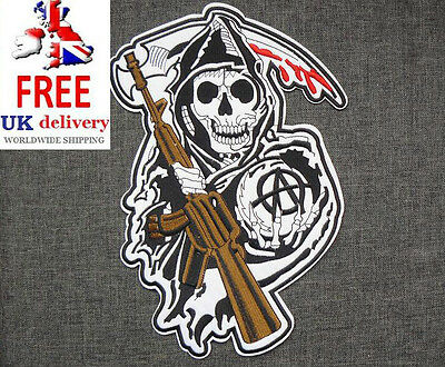 Sons of Anarchy Large XXL Iron-on/sew-on Embroidered Patch Motorcycle Biker