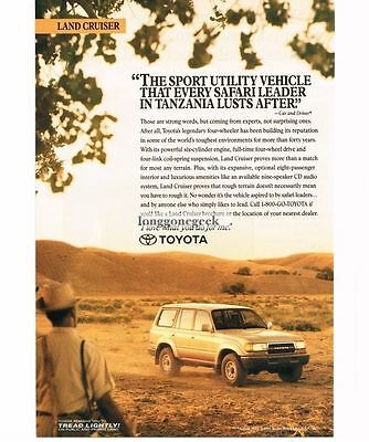 1991 Toyota Land Cruiser in Tanzania Africa Plains Vtg Print Ad