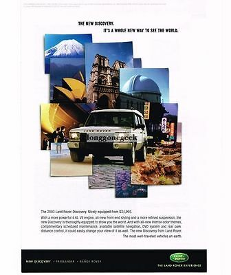 2003 Land Rover Discovery Silver SUV 2002 Vtg Print Ad
