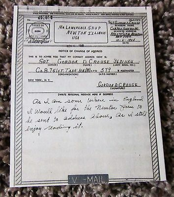 V-Mail 741st Tank Battalion Sgt Gordon Crouse Silver Star D-Day WWII 8th Armored