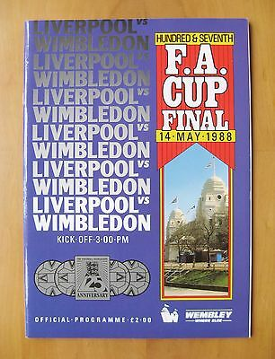 1988 FA Cup Final AFC WIMBLEDON v LIVERPOOL *Exc Condition Football Programme*