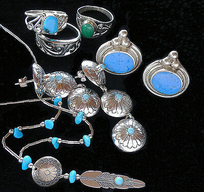 Southwestern Sterling Silver Concho Necklace Ring Turquoise Jewelry Horse Gal