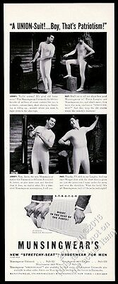 1941 Munsingwear underwear unionsuit 2 men photo in log cabin vintage print ad