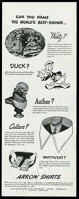 1944 Walt Disney Donald Duck art Arrow men's shirt fashion vintage print ad