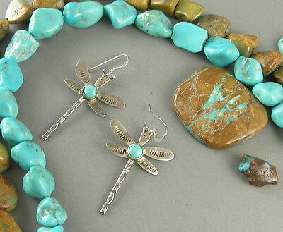 Rare Old Navajo Harvey Era Stamped Sterling Turquoise Dragonfly Earrings